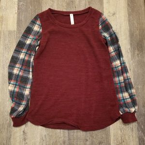 Vanilla Bay Flannel Sleeve L/S Top, size S NWOT